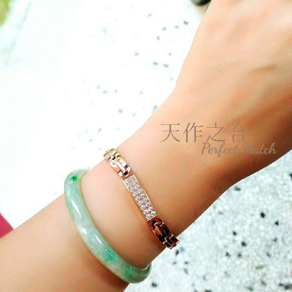 日本奈米鍺純鈦鈦鍺能量健康手鍊 (時尚晶鑽設計款)