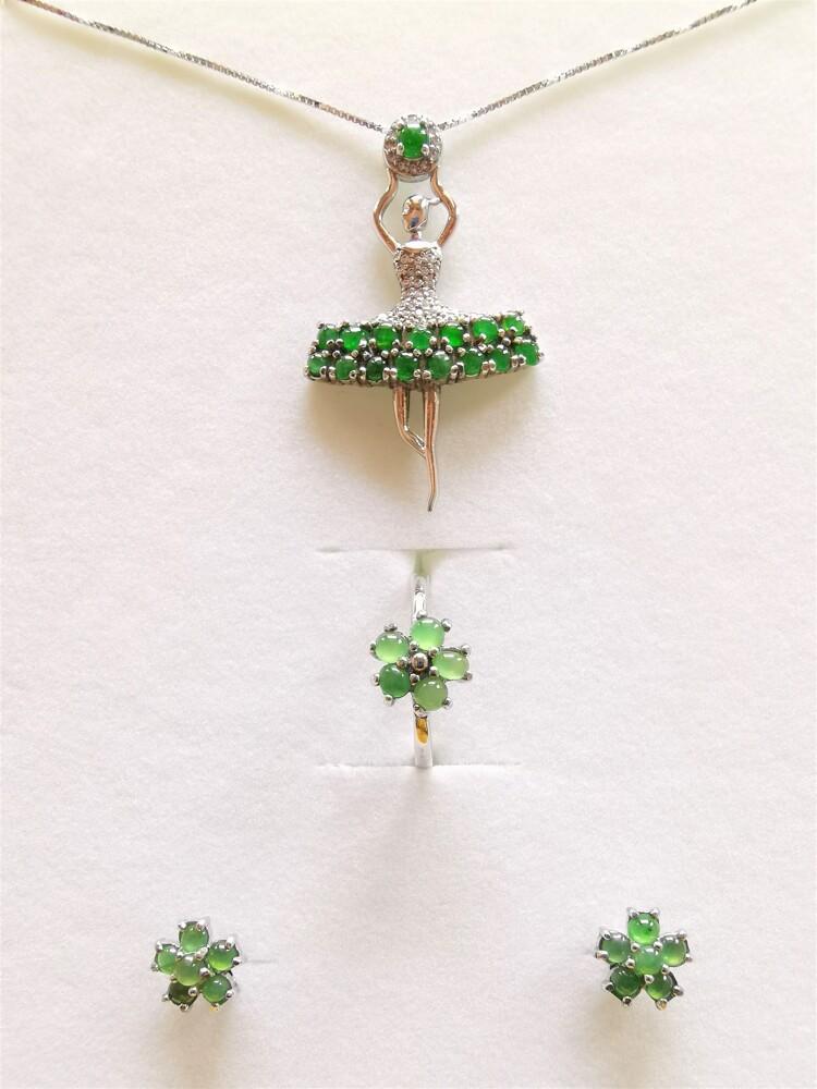 超值商品天然冰種翡翠 項鍊戒指耳環三件式套組 跳舞女孩a貨