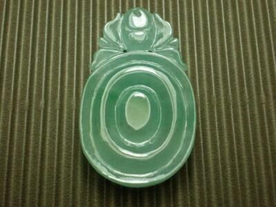 【超值商品】[天作之合] 冰種玻璃地藍水翡翠玉墜《古錢&蝙蝠》《A貨》 (8折)