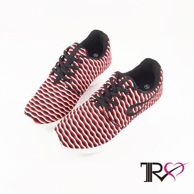 【TRS】韓國空運條紋透氣網布空氣增高鞋 ↑6cm 紅白-女鞋(7100-0038) (5.1折)