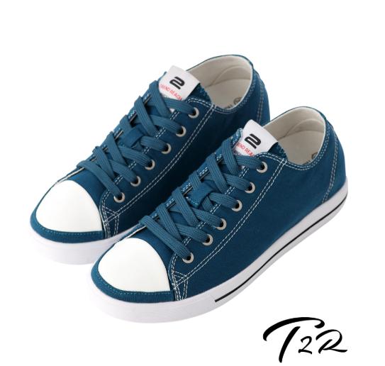 5600-0216韓國t2r經典復古百搭男款內增高帆布鞋 5cm 藍