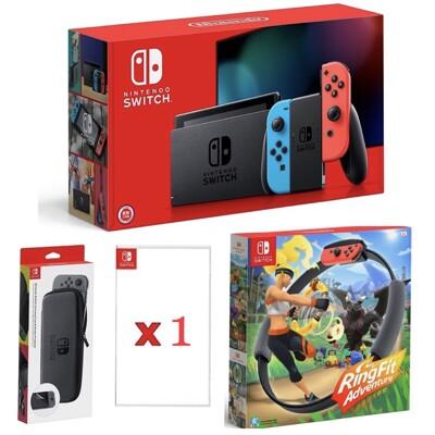 【雙十快閃購物節】紅藍電力加強版+健身環大冒險 台灣公司貨Switch主機 NS +1片遊戲+包+貼 (5折)