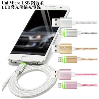 2.4A Micro USB 鋁合金LED發光快速傳輸充電線 (3.6折)