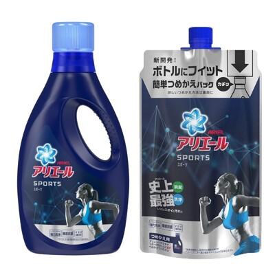 日本進口 【P&G】 ARIEL 史上最強運動抗菌消臭洗衣精熱銷組 (瓶裝750g+補充包720g) (6.9折)