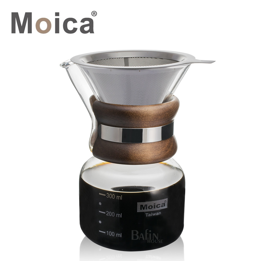 moica不鏽鋼濾網及濾紙兩用手沖咖啡壺(附濾網)