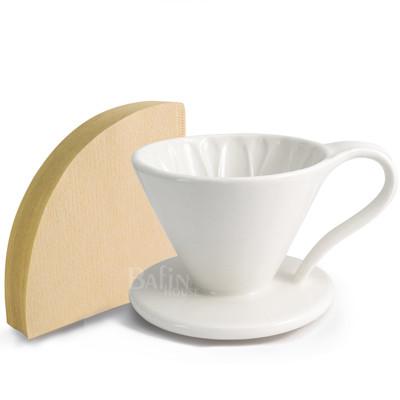 【義大利Balzano】1~2人份花瓣陶瓷錐形濾杯+日本三洋 錐形濾紙100張 (6.7折)
