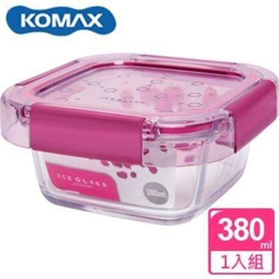 韓國 KOMAX 冰鑽方形強化玻璃保鮮盒 粉 380ml 59850【AE02266】 (5.4折)