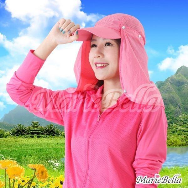 marie bella upf50+抗uv 透氣防曬護頸遮陽帽 (粉紅)ks12027