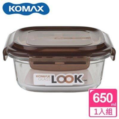 韓國 KOMAX 巧克力方形強化玻璃保鮮盒650ml 59072【AE02254】 (5.7折)