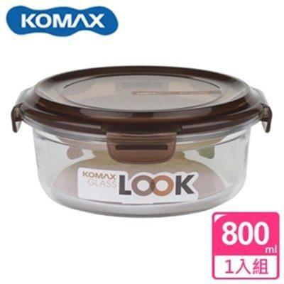 韓國 KOMAX 巧克力圓形強化玻璃保鮮盒800ml 59078【AE02255】 (5.3折)