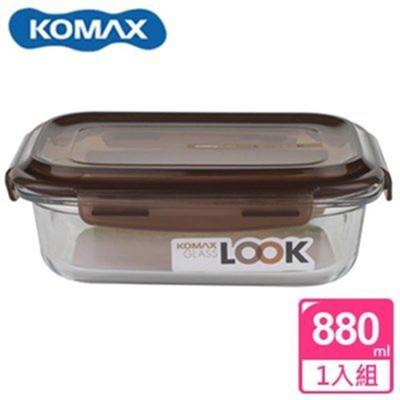 韓國 KOMAX 巧克力長形強化玻璃保鮮盒880ml 59076【AE02256】 (6折)
