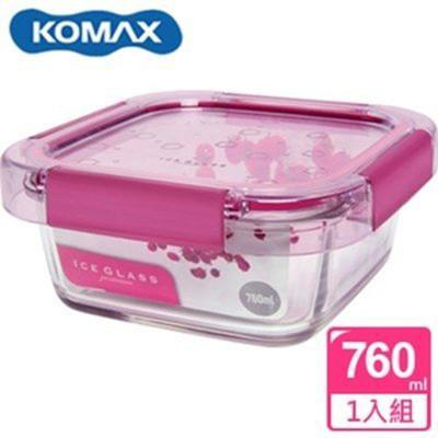 韓國 KOMAX 冰鑽方形強化玻璃保鮮盒 粉 760ml 59851【AE02268】 (5.4折)