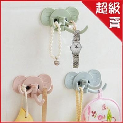 可愛大象頭3掛勾壁掛勾 免釘掛鉤 (3個裝-顏色隨機)【AF07223-3】 (3.3折)