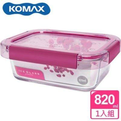 韓國 KOMAX 冰鑽長形強化玻璃保鮮盒 粉 820ml 59854【AE02269】 (6折)