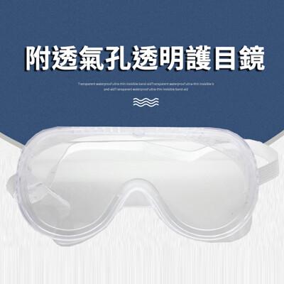 氣孔式軟橡膠防風透明護目鏡 防護目鏡  防風沙護目鏡(防噴濺/防唾沫/防沙粒/可內戴眼鏡) (3折)