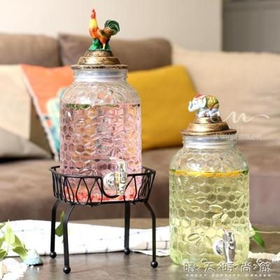 北歐玻璃水壺帶水龍頭甜品臺雙瓶果汁鼎飲料桶冷水壺啤酒桶釀酒瓶wd (9折)