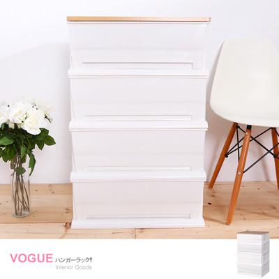 vogue時光木天板白色超大120公升四層櫃DIY簡易組裝【005058-01】 (6.7折)