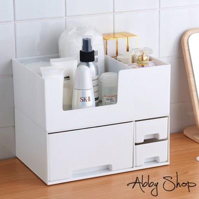 Abby生活百貨》北歐簡約二層式抽屜化妝品收納盒(兩色任選) (4.8折)