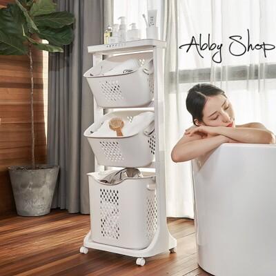 Abby生活百貨》極簡可移動三層置物洗衣收納籃推車 (4.6折)