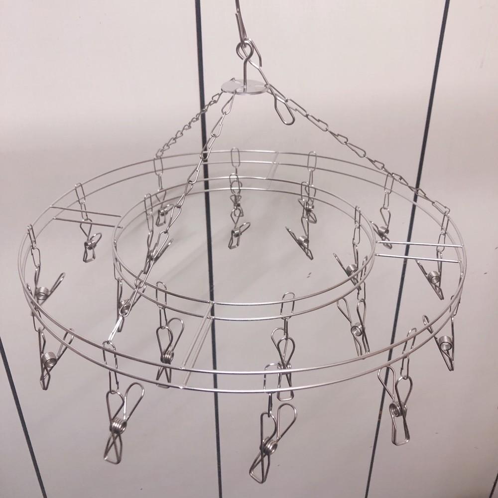 家庭必備 防風 防菌 20夾不鏽鋼曬衣架(方形圓形各一)