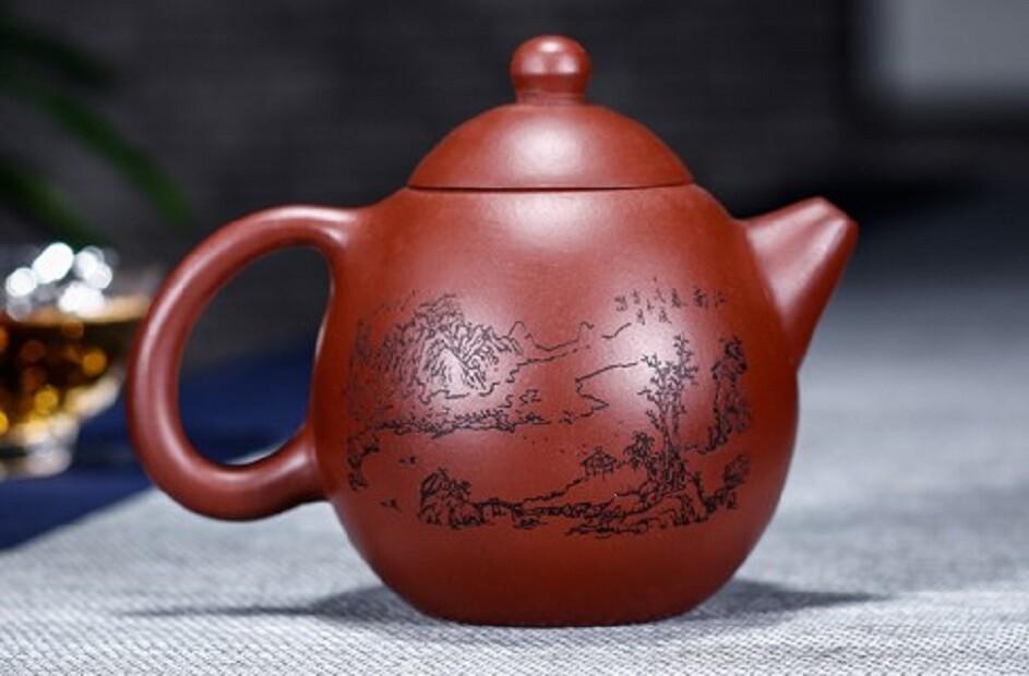 宜興紫砂壺原礦大紅袍龍蛋壺容量200毫升