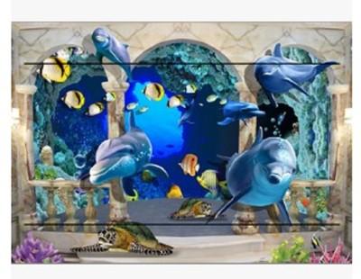 3D空間海底世界海豚熱帶魚電錶箱牆貼配電箱貼畫背景牆裝飾畫 (6.9折)