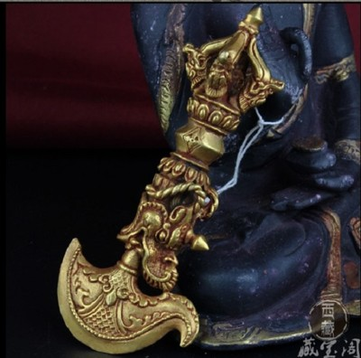 西藏密宗法器純銅手工鎏金五股鉞刀金剛杵降魔杵法器 (9.3折)