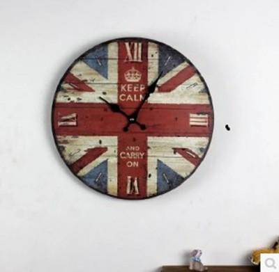 新款時尚簡約懷舊英倫風格實木英國國旗彩繪電子掛鐘客廳臥室牆鐘 (8折)