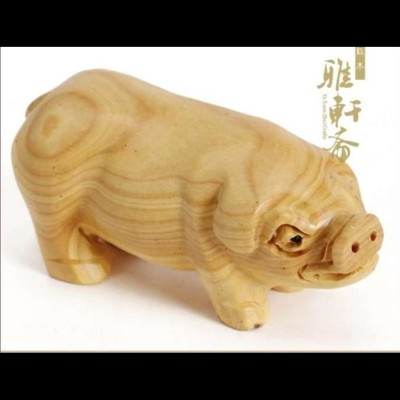 木雕豬精美手把件2寸黃楊木雕生肖擺件生肖豬把玩風水小把件1入 (10折)