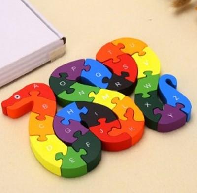 26英文字母數字認知木製拼圖積木兒童玩具 (7.4折)