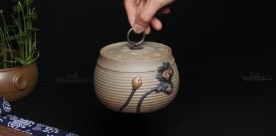 農夫堂粗陶茶葉罐浮雕復古儲物罐陶茶葉罐陶瓷正品老顏泥 (8折)