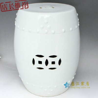RYLL22景德鎮陶瓷白色圓面鼓凳瓷凳梳妝凳凳子 (9.4折)