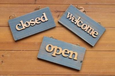 木質個性做舊藍掛牌open,closed,welcome咖啡酒吧書吧歡迎門牌 (8折)