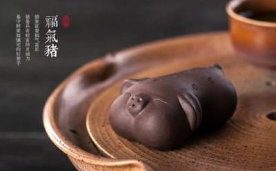精品宜興原礦紫砂可愛豬茶寵名家手工創意茶玩功夫茶藝擺件 (7.1折)