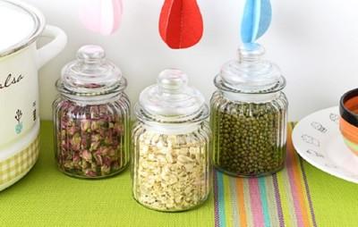 廚房玻璃儲物罐多用途防潮食品密封罐b049 帶蓋雜糧收納罐儲物瓶子