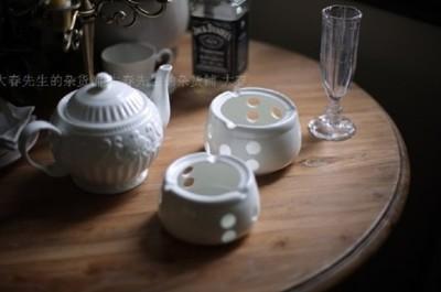 歐式茶壺白瓷陶瓷蠟燭加熱底座 (8.3折)