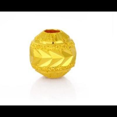 足金黃金磨沙圓形小金珠散珠配件 (10折)