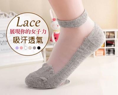 蕾絲水晶玻璃防滑隱形襪 (1.9折)