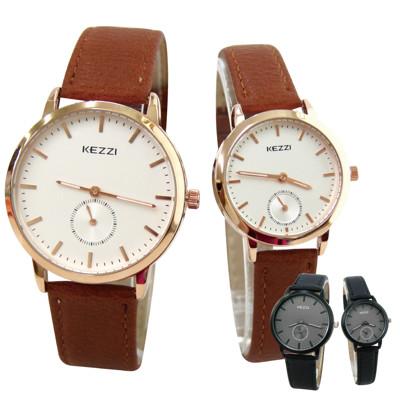KEZZI珂紫 K-1582 文青復古質感皮帶情侶錶 (6.1折)