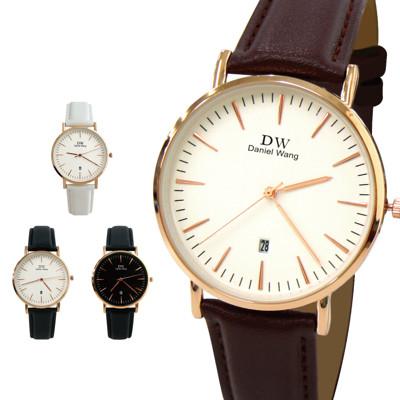 DW-3181 簡約玫金日期小窗皮帶錶 (6.4折)
