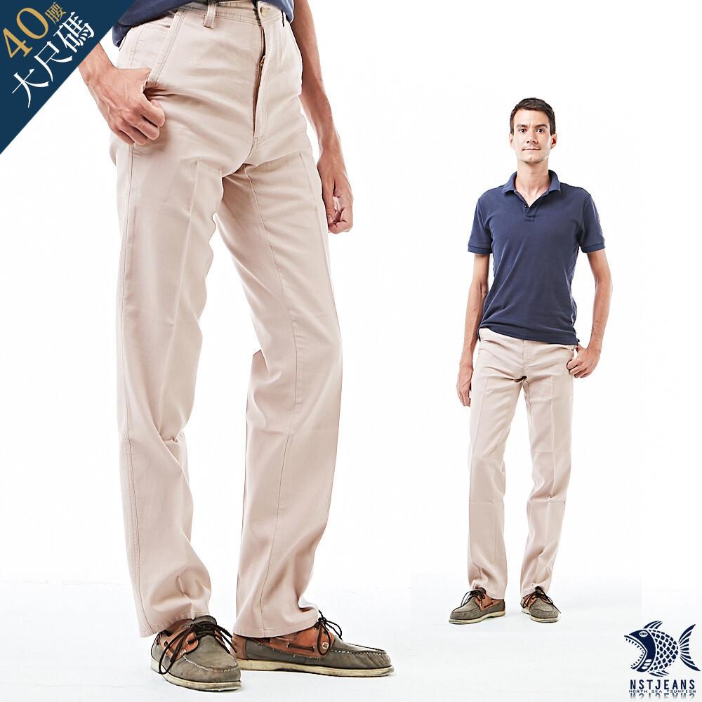 nst jeans男休閒長褲 中腰直筒 小白球壓紋 杏色 390(5641)專櫃精品大尺碼40腰