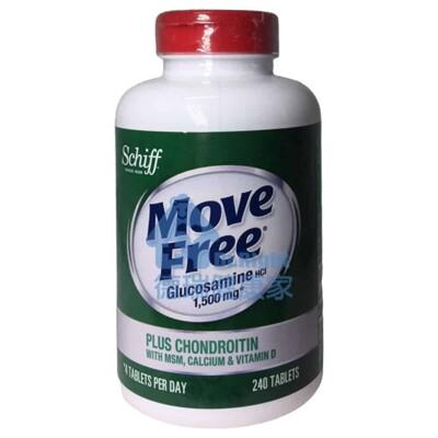 Move Free 葡萄糖胺+軟骨素+MSM+維生素D+鈣錠 240錠/瓶 (8.3折)