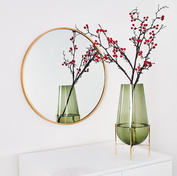 鏡子 50cm 圓鏡 壁掛鏡 梳妝鏡 北歐浴室鏡子 衛生間圓形鏡子 免打孔 壁掛 廁所洗手間 化妝鏡