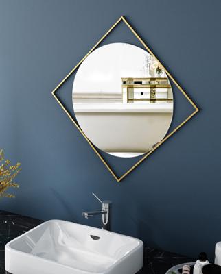 鏡子 壁掛鏡 化妝鏡 50*50CM 北歐梳妝鏡 浴室鏡衛生間鏡子壁掛裝飾鏡鏤空鏡洗手間鏡簡約玄關鏡 (8.4折)
