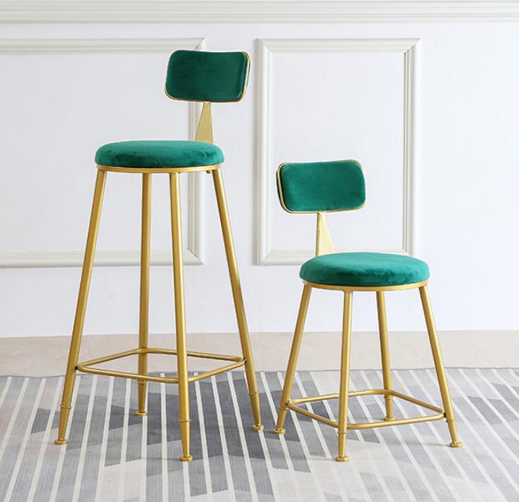 椅子 45cm 餐椅 靠背椅 高腳墊 北歐 吧臺椅 休閑咖啡椅 創意餐椅金色酒吧椅簡約吧凳靠背高腳椅