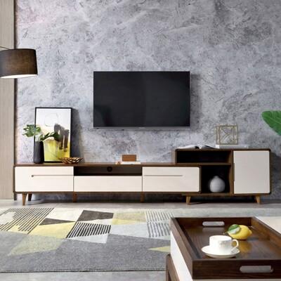 簡約實木框亮光漆面三抽伸縮電視櫃BA5M V2-木紋+杏色 (7.5折)