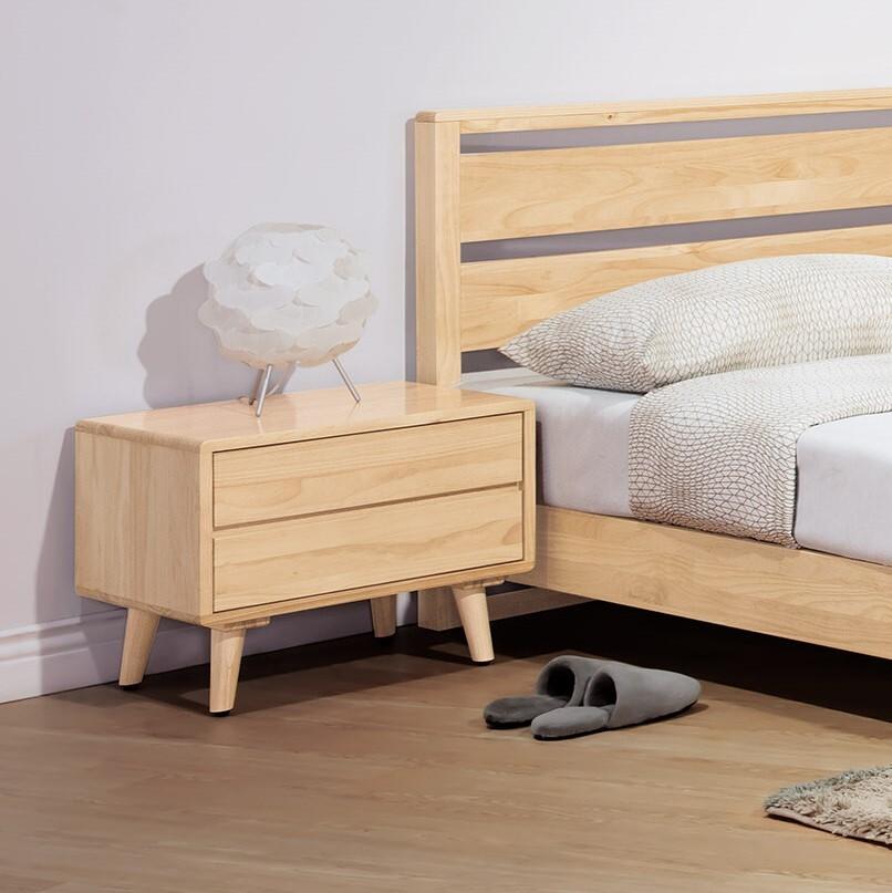 丹麥原木全實木床頭櫃