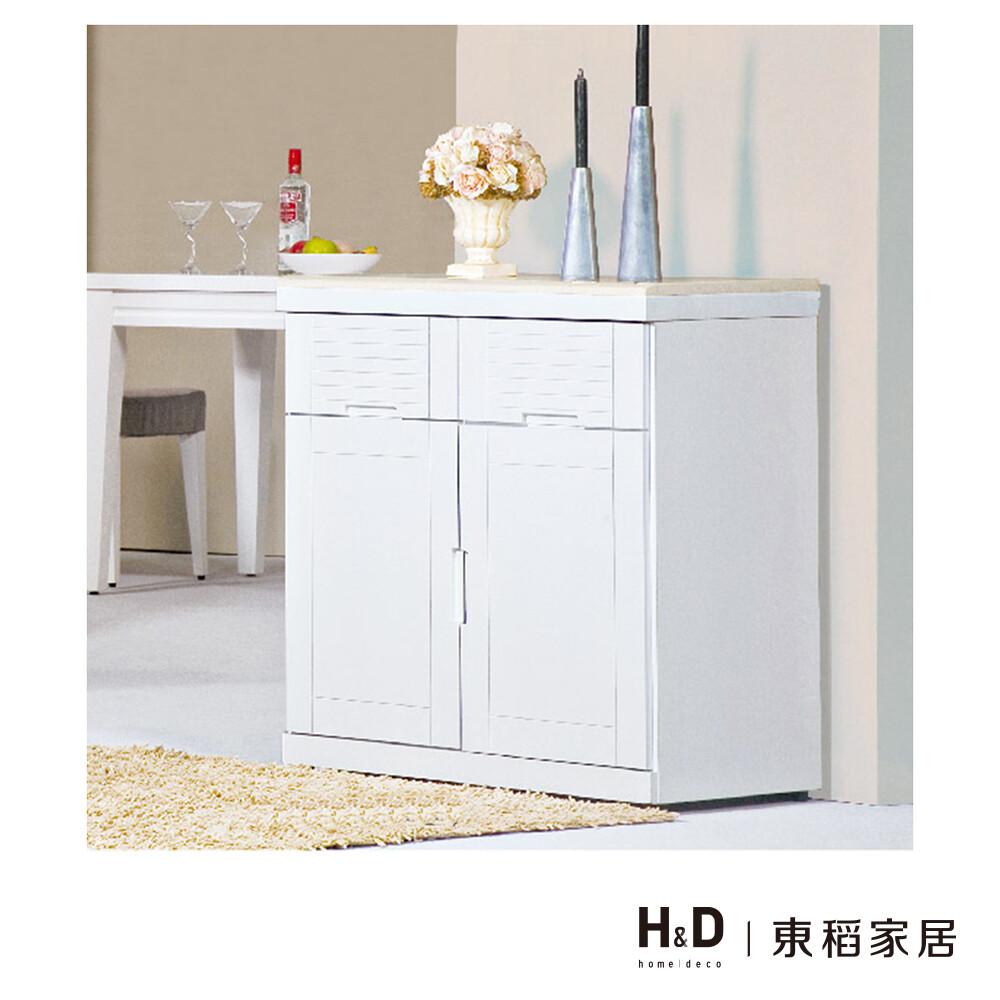 凱西白色2.7尺石面餐櫃