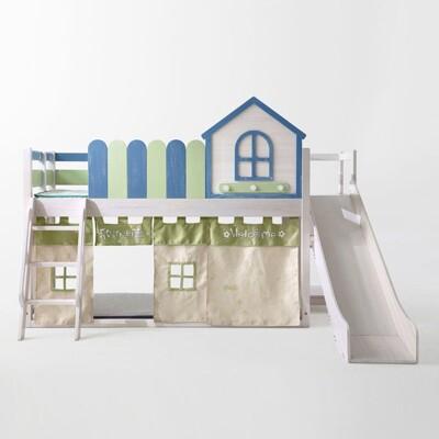 童趣星空實木上下鋪多功能高床滑梯兒童床組(附床墊)EC2A (7折)