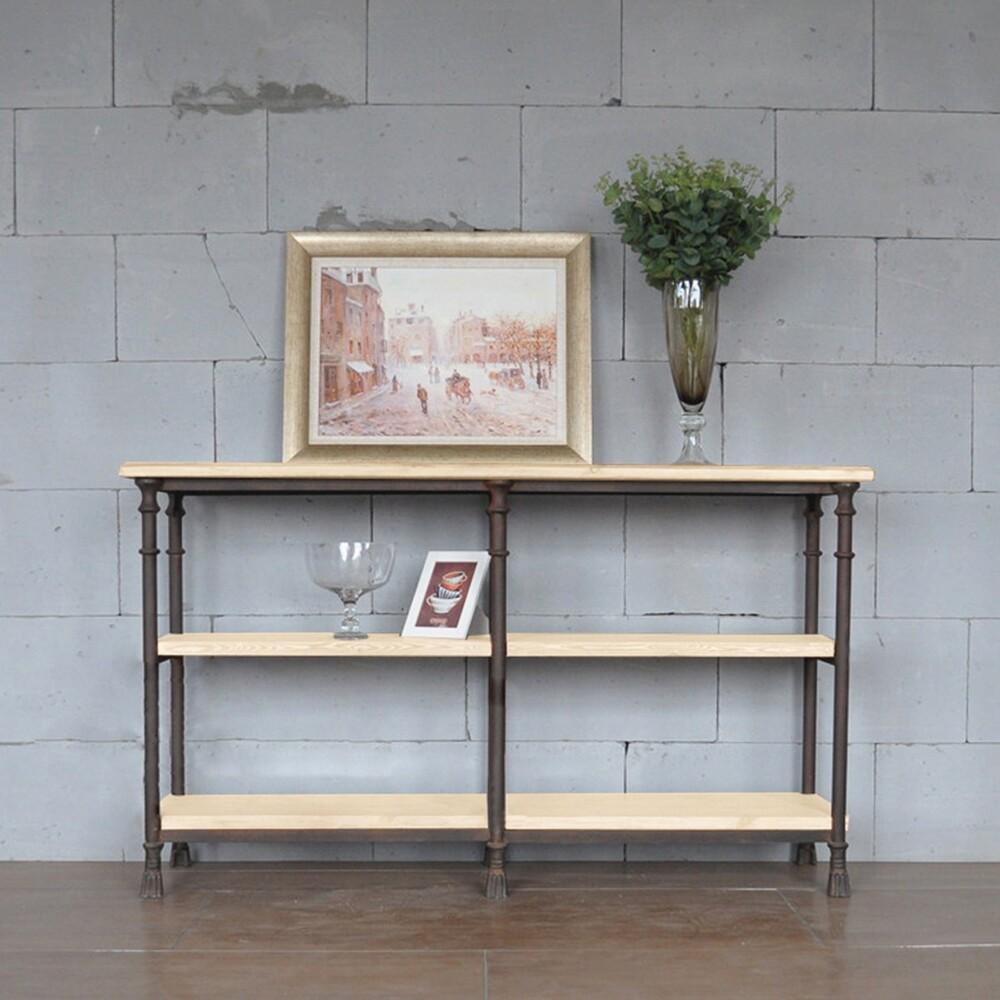 鐵藝實木隔板收納置物餐邊櫃 150x40x85cm